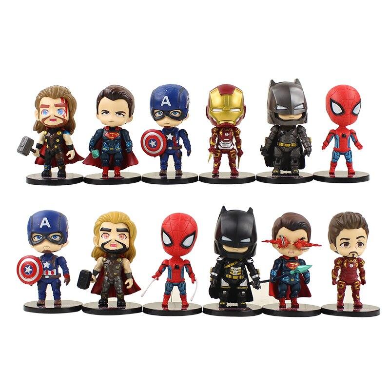 6 unids/lote súper Thor superhéroe Iron Man Capitán América Superman y murciélagos para hombre Spiderman figura de acción para niños