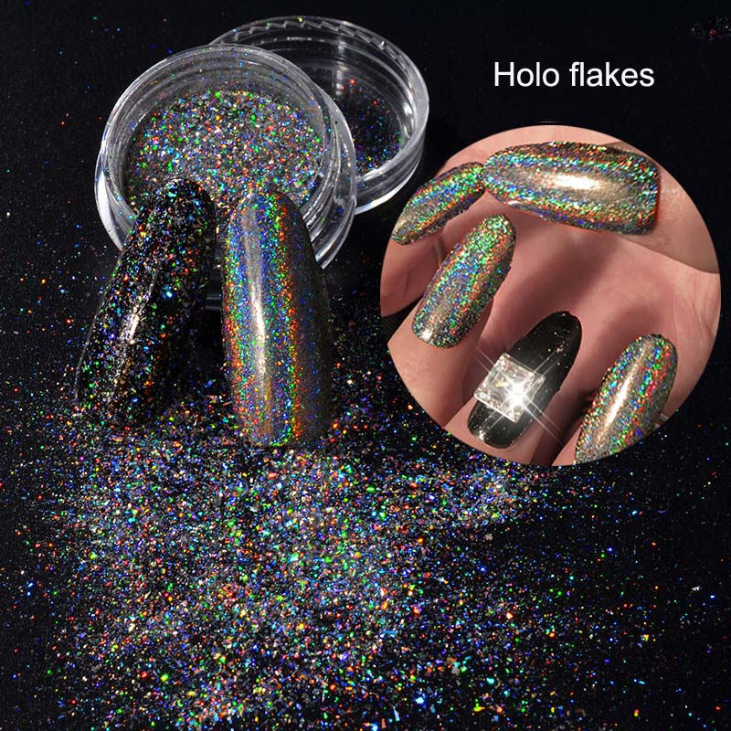 Polvo holográfico de copos de galaxia HOLO, pigmento holográfico, brillo holográfico, lentejuelas de uñas láser para arte de uñas-1g 5g 10g 50g