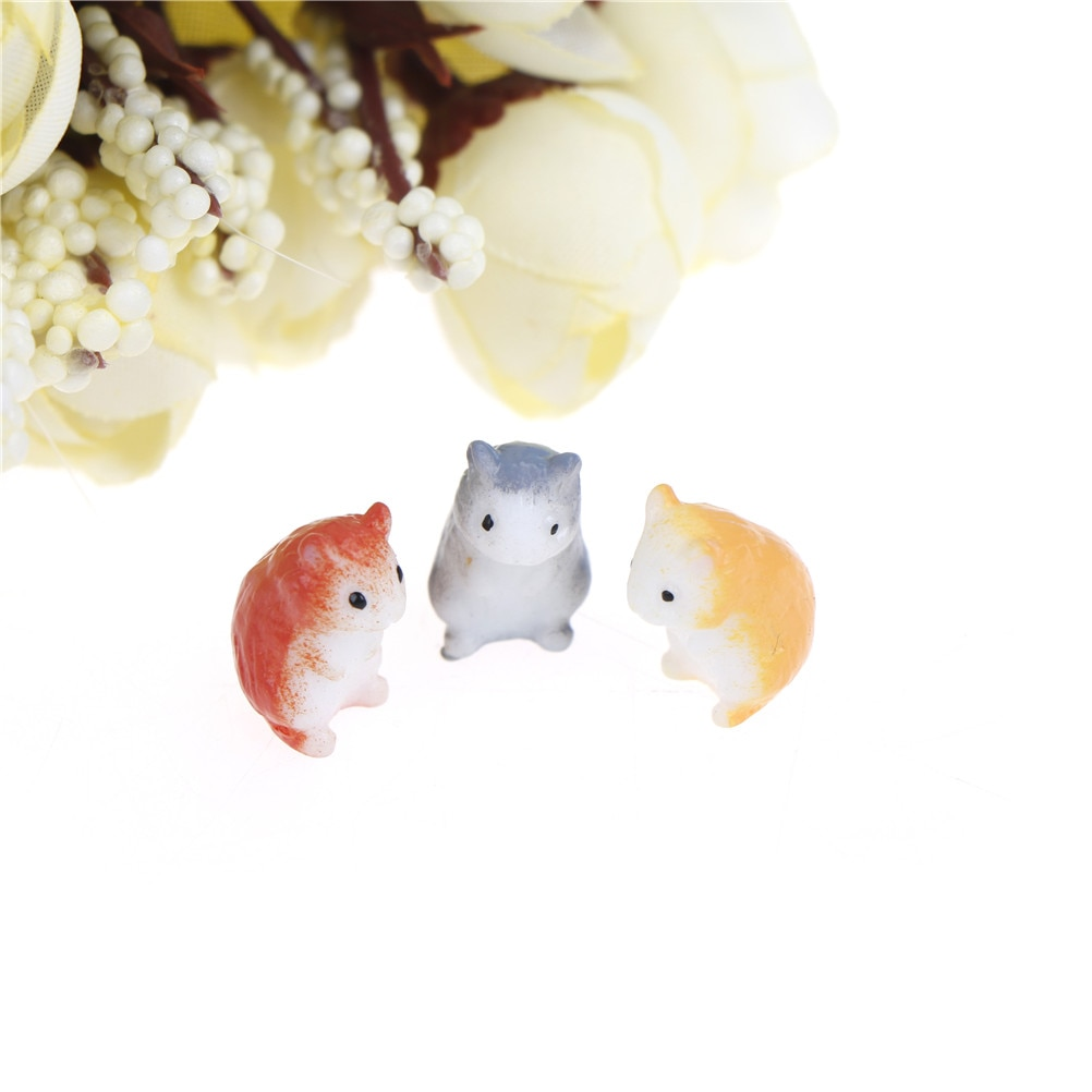 DIY 1 Terrario de jardín de hadas decoración artesanal de resina hámster animales Micro Gnomo miniatura