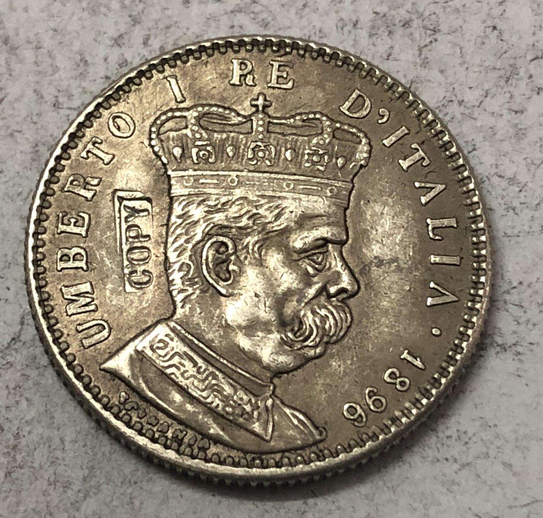 1896 Eritreia 1 Lira-Umberto I Cópia Moeda de Prata