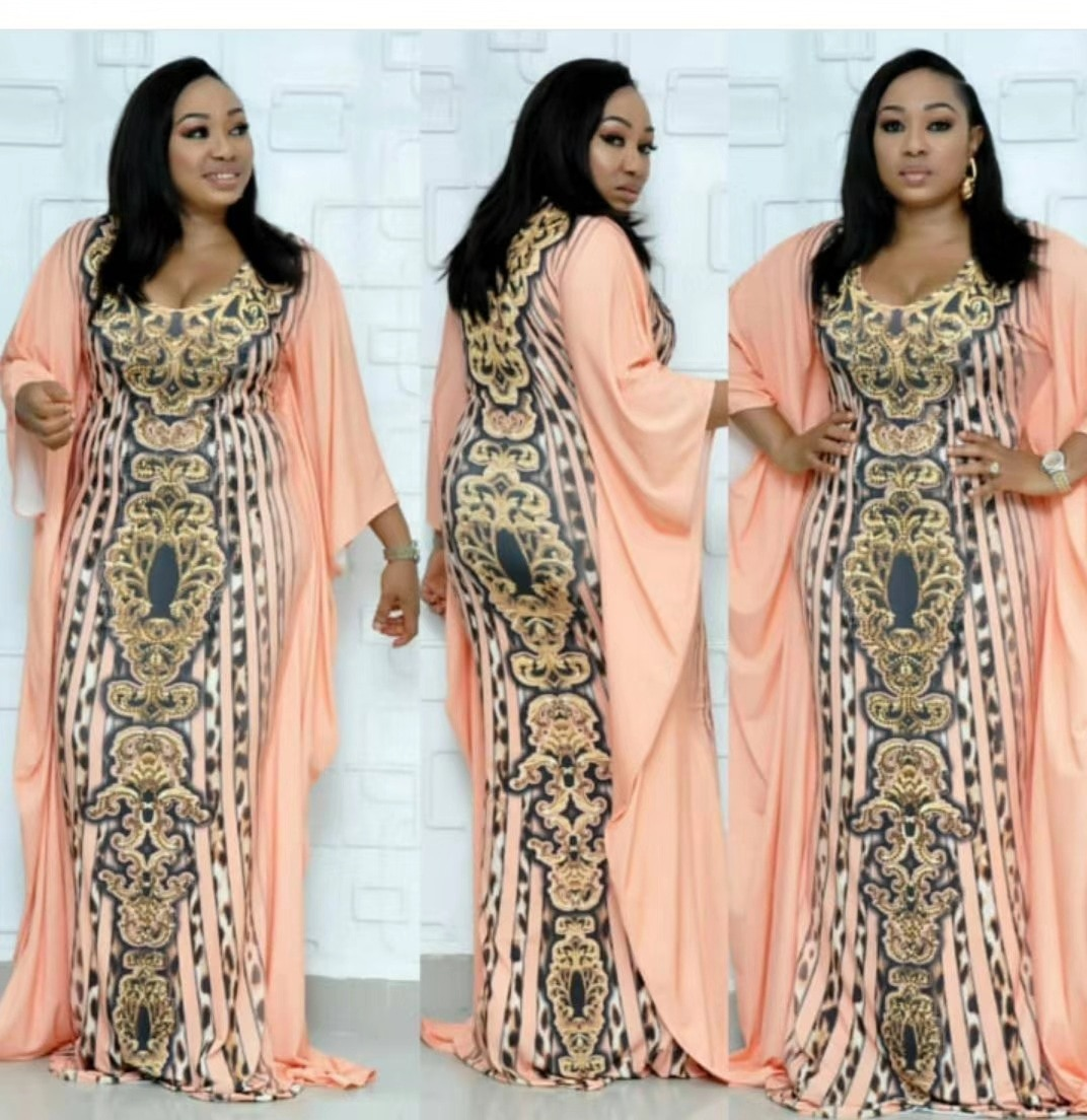 African Elastic Women Dresses New Bat Sleeve Fashion V-neck Leopard-print Printed Slim Costumes National Style Luxury Dresses