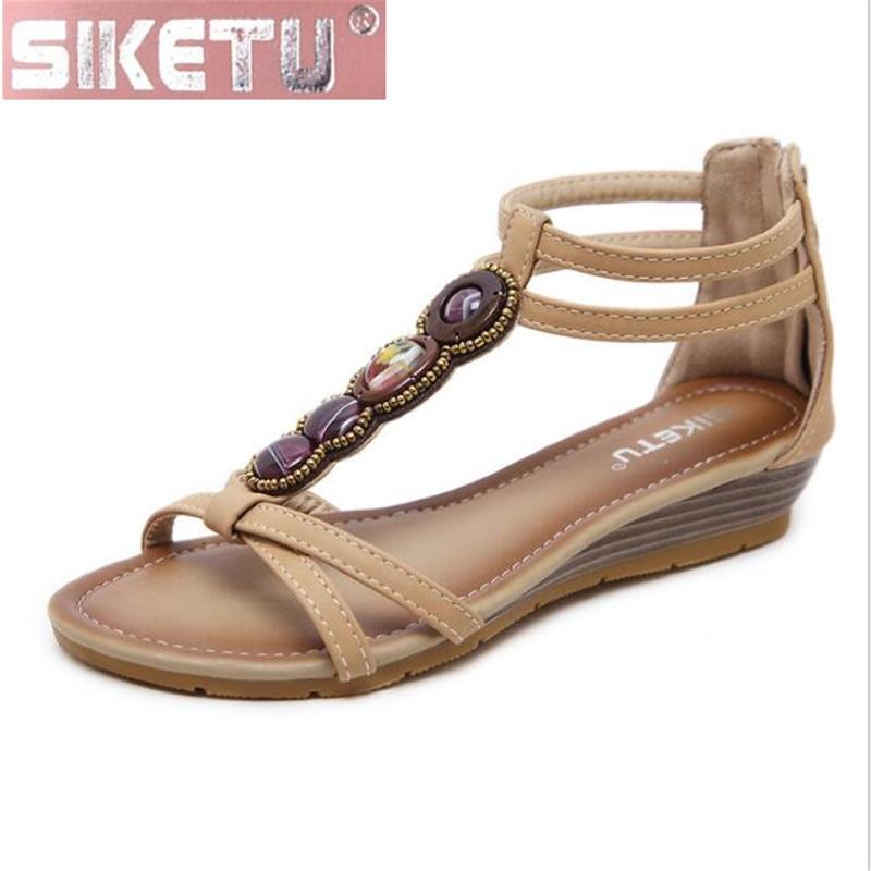 SIKETU shoes woman sandals PU The New Nationality Women's sandals Rome Retro Bohemia Wedge summer women shoes