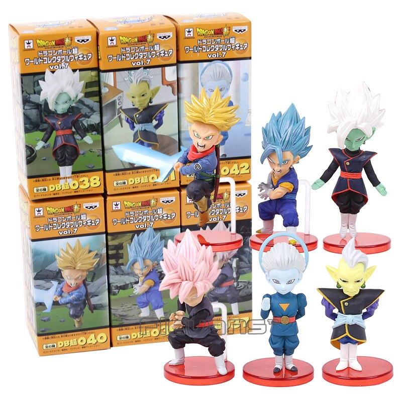 Dragon Ball Super vol.7 Trunks Vegetto Zamasu Super Saiyan Rose Goku negro gran sacerdote PVC figuras juguetes 6 unids/set 8 ~ 9 cm