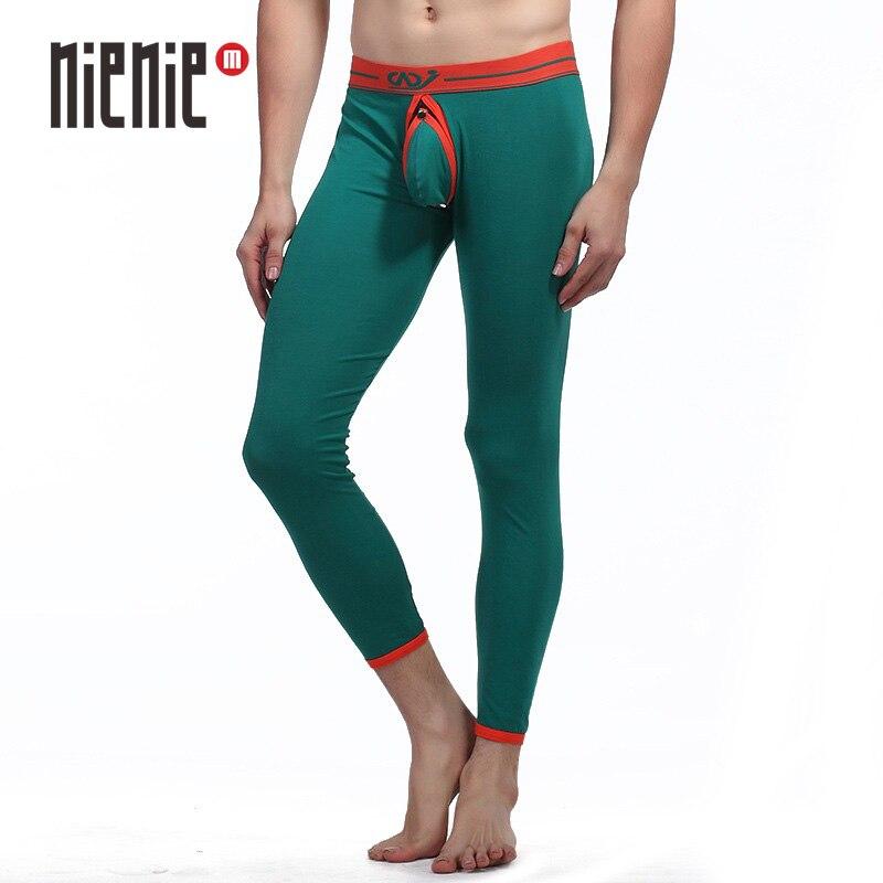 Sexy Lange Unterhosen Thermische Unterwäsche Bottom Tragen Warme Hosen Mens Fashion Leggings Strumpfhosen Pouch Open Gabelung Ass Mens-8 farben