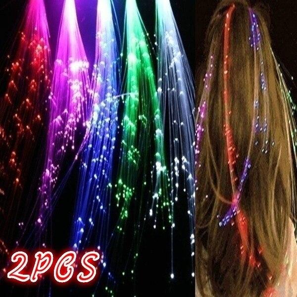 2 uds. De luces LED de fibra óptica, pasadores de pelo Multicolor, luces Led para el cabello, adornos navideños para fiestas de neón