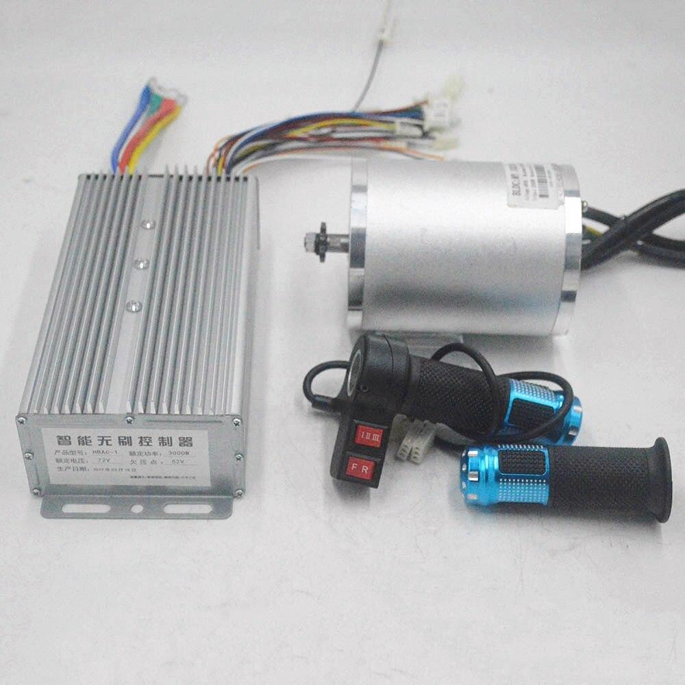 Motor eléctrico de 72V y 3000W con controlador BLDC, acelerador de 3 velocidades para Scooter Eléctrico, motor de e-car, pieza de motocicleta
