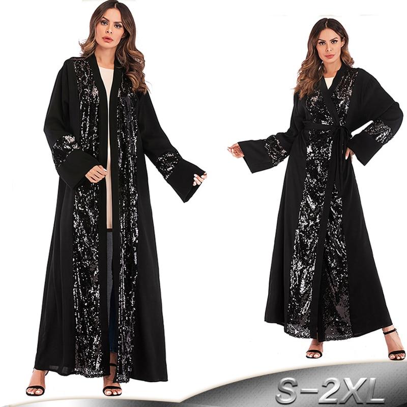 Negro Kaftan Abaya de Dubai Islam cárdigan con lentejuelas musulmán vestido Hijab caftán Omán Qatar Abayas para damas ropa islámica turca
