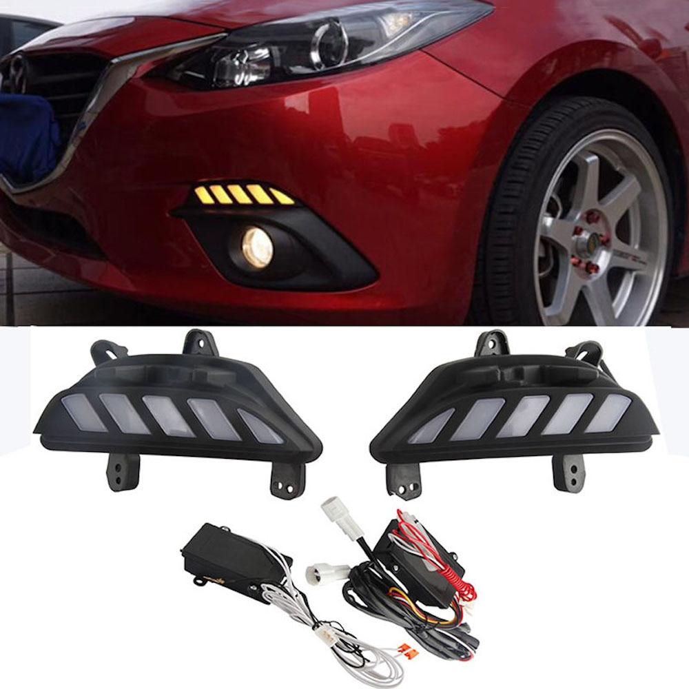 Car Daylight 2Pcs LED DRL For Mazda 3 2014 2015 2016 Fog Lamps Cover Daytime Running lights for Mazda3 Axela car styling 12V