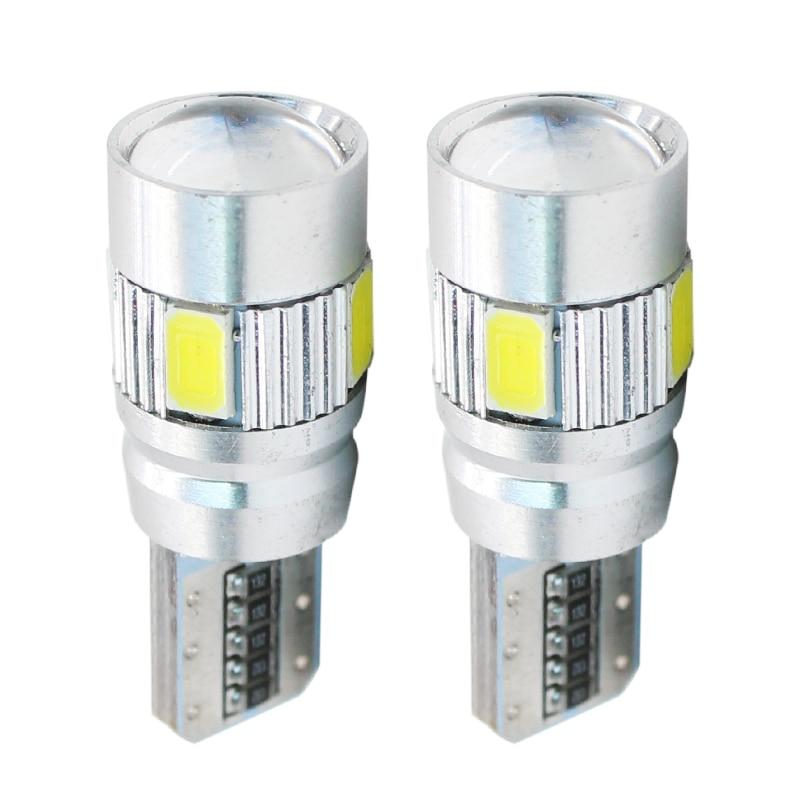2 pces t10 w5w led canbus nenhum erro 6 smd 5630 194 luzes led cunha lâmpada w5w 501 luzes de liberação automática 12 v branco canbus led