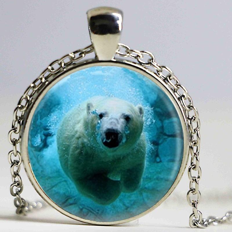 Collar de oso Polar joyería con motivo de oso Ártico animales del océano naturaleza collar de arte oso collar de vidrio impreso