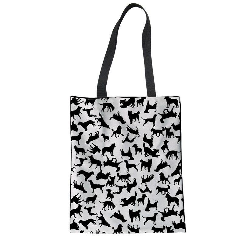 THIKIN plegable bolso de las mujeres negro siluetas de animales portátil de diseño de bolsos casuales de moda bolsas para libros de estudiantes Eco