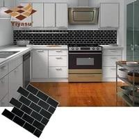 Carrelage de metro noir auto-adhesif  dosseret en brique  autocollant mural en vinyle  salle de bains  cuisine  decor de maison  bricolage