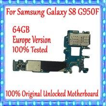 Placa base Original desbloqueada para Samsung Galaxy S8 G950F, 64GB, con sistema Android, versión EU para Galaxy S8 G950F, placa base