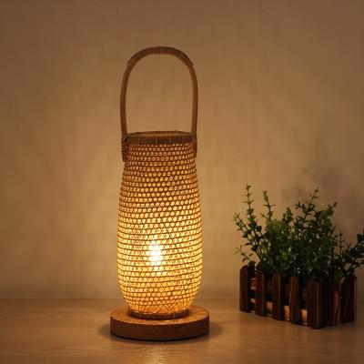 Cesta de mimbre de bambú hecha a mano de ratán lámpara de mesa accesorio asiático japonés escritorio luz Abajour mesita de noche lámpara de cabecera de dormitorio