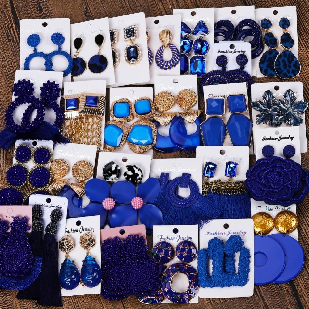 Miwens Za 32 Designs Navy Dark Blue Color Boho Ethnic Trendy Vintage Fashion Punk Cute Drop Earrings Women Factory Jewelry A455