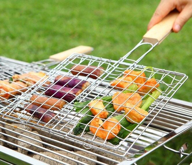1PC de barbacoa de acero red para asar de malla de pescado pinza de barbacoa Red con mango de madera no-Palo de carne maíz verdura barbacoa red OK 0394