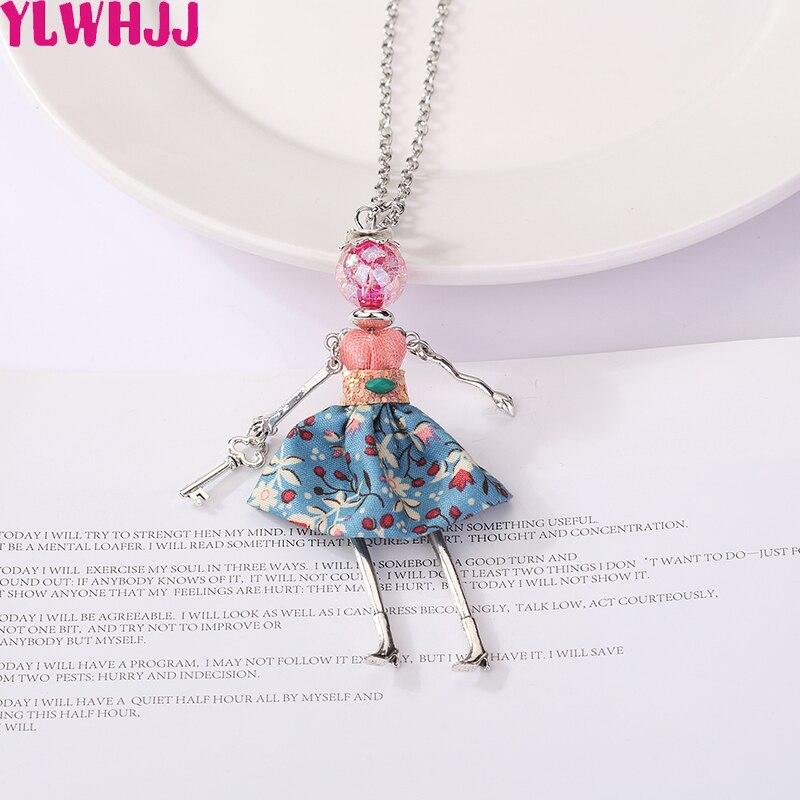 YLWHJJ 2019 las nuevas mujeres muñeca collar de cadena larga de lindo joyería hecha a mano chica declaración joyería collares y colgantes de moda femenina