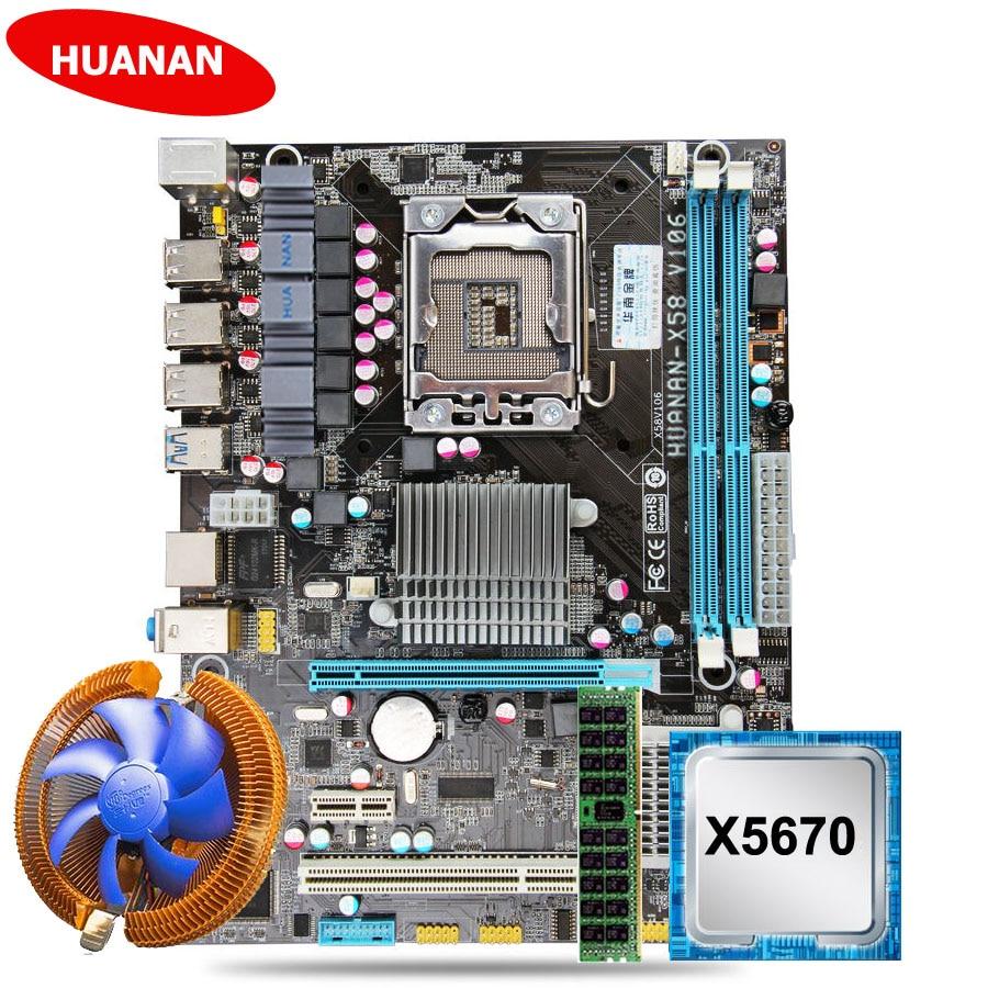 Werbe marke motherboard HUANAN ZHI X58 LGA1366 motherboard mit CPU Intel Xeon X5670 2,93 GHz mit kühler RAM 8G DDR3 RECC