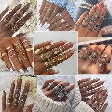 Gothic Gouden Trouwring Vintage Crown Water Druppels Star Geometrische Crystal Ringen Set Vrouwen Charm Joint Ring 2019 Mode-sieraden