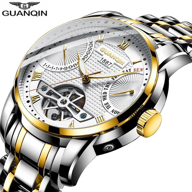 Reloj de hombre GUANQIN 2019, reloj automático para nadar, reloj mecánico para hombre, reloj de lujo resistente al agua estilo Tourbillon erkek saat