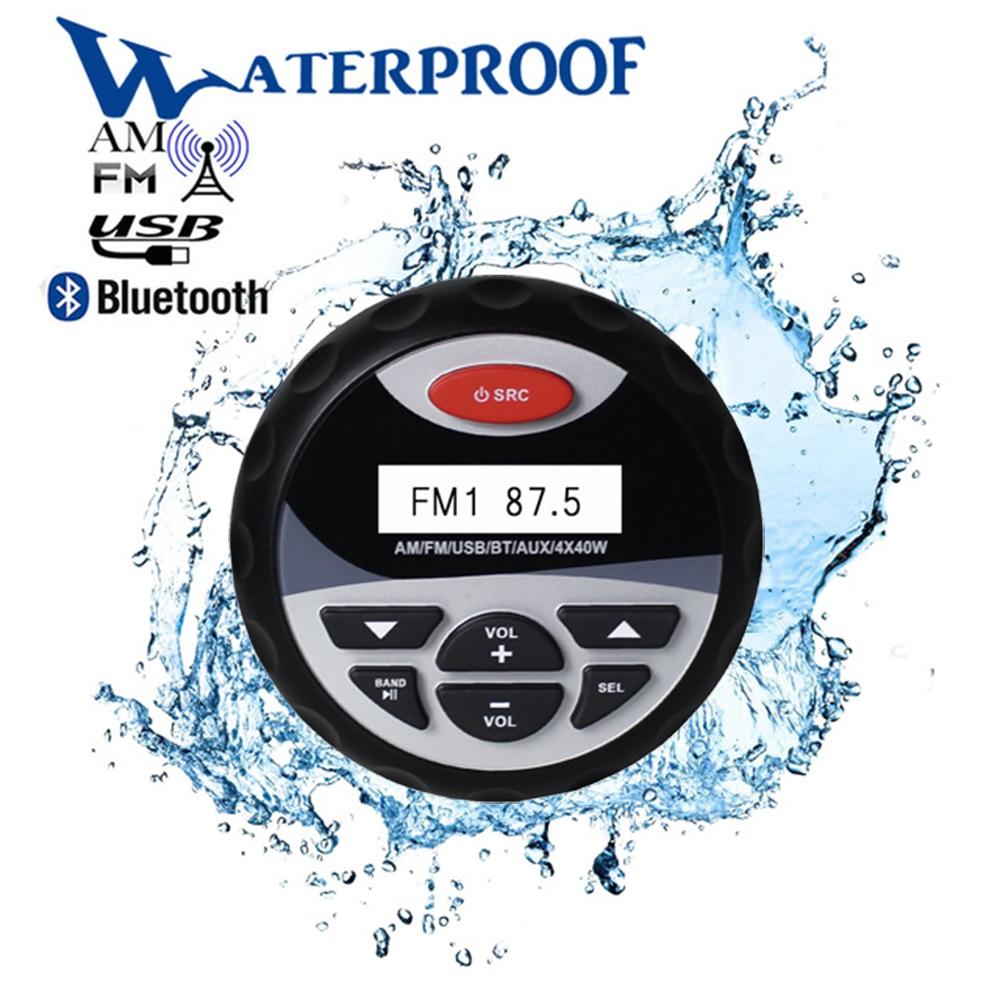 Marino impermeable Bluetooth Radio estéreo Audio FM AM receptor coche reproductor MP3 Sistema de sonido USB para motocicleta Barco, spa UTV ATV