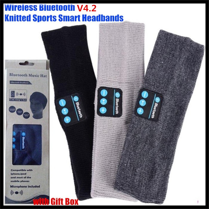 100p!Unisex Bluetooth inalámbrico V4.2 auriculares de punto estéreo auricular manos libres música magia deporte banda para la cabeza inteligente Mp3 altavoz Mic