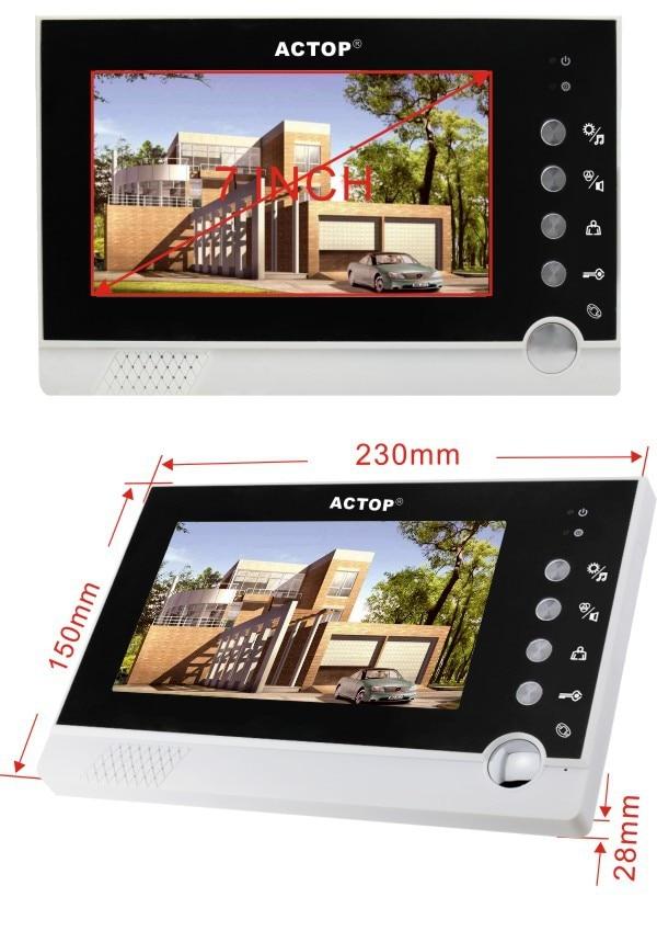 VDP-316 CAM-205A vídeo electrónico intercomunicador timbre de puerta dependiendo del timbre inteligente 7 pulgadas cámara de grabación de mensajes