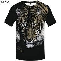 kyku tiger t shirt men 3d t shirt funny t shirts black animal printed tshirt punk rock clothes anime king gothic mens clothing