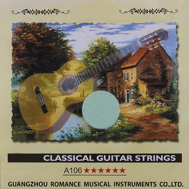Juego de cuerdas de guitarra clásica de 6 cuerdas de nailon transparentes de guitarra clásica aleación de cobre enrollada plateada-Alice A106