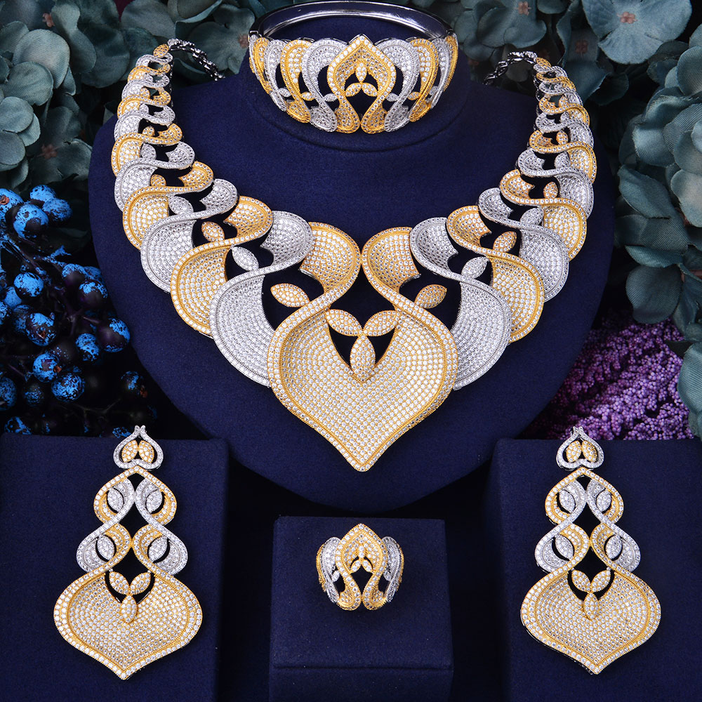 GODKI Super Luxury Geometry Flower Women Wedding Cubic Zirconia Choker Necklace Earring Dubai Jewelry Set Jewellery Addict