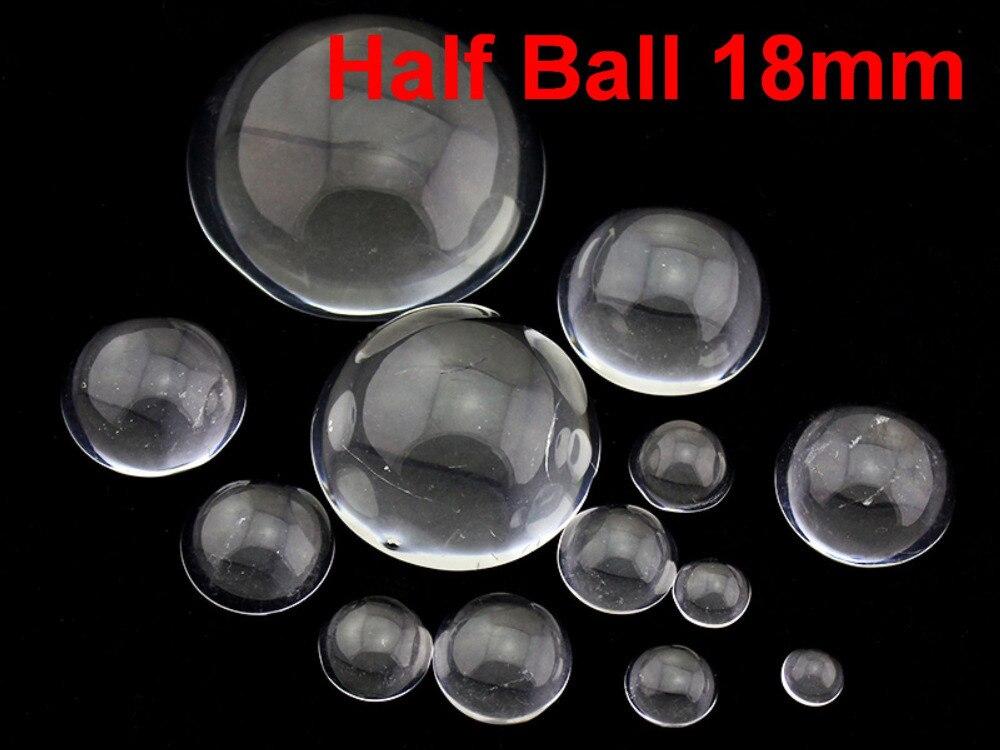 40 transparente Flatback vidrio medio esfera bola cabujón 18mm
