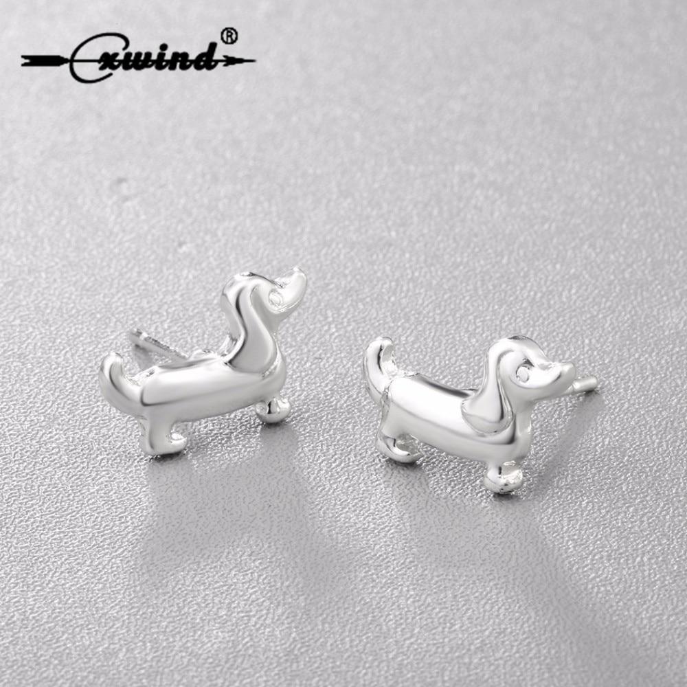 Cxwind Fashion Cute Animal Paw Print Earrings Tiny Sausage Dog Dachshund Stud Earring for Women Lady