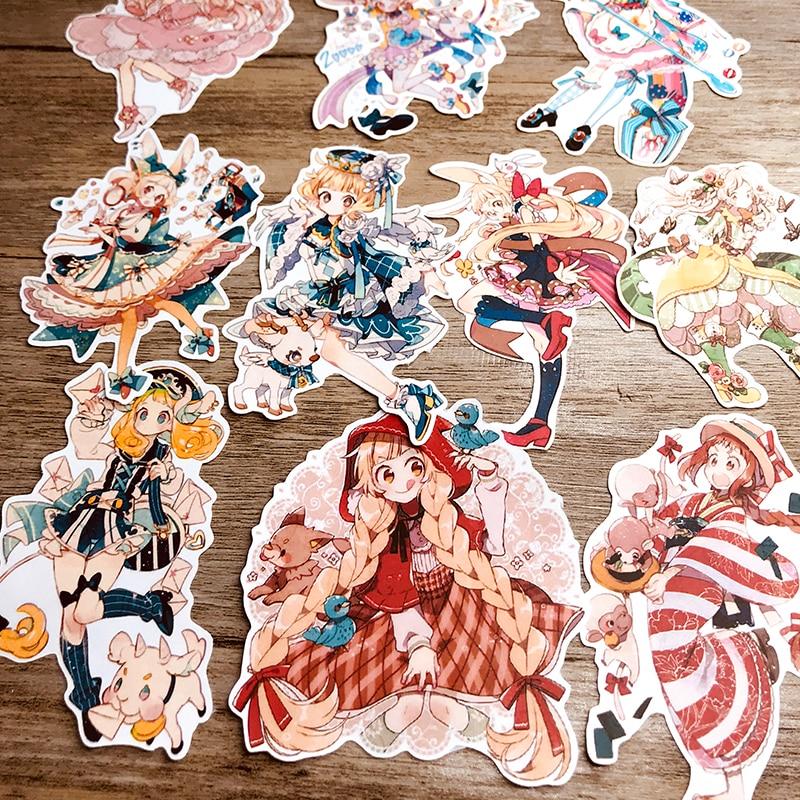 11 unids/pack pegatinas bonitas de decoración de Chica de anime de dibujos animados DIY planificador diario etiqueta Escolar papelería
