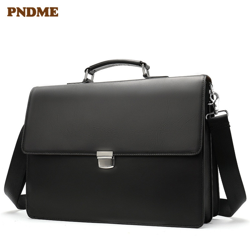 PNDME high quality business genuine leather black men's briefcase casual simple designer luxury laptop shoulder messenger bags