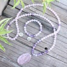 Perles en pierre naturelle 8mm, améthyste, Quartz Rose, Lotus, amour, ensembles JapaMala, bijoux spirituels, méditation, inspiration, perles Mala 108