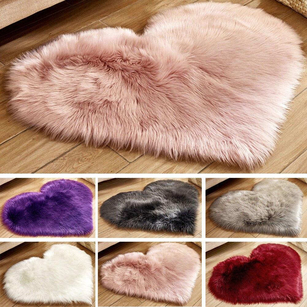 Flauschigen Herz Geformt Teppich Shaggy Boden Weichen Faux Pelz Hause Schlafzimmer Haarigen Teppich Teppiche