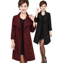 Spring Thin Windbreaker Mediun long Middle-aged Women Large size Loose Jacket Fashion Temperament Long-sleeved Windbreaker DT121