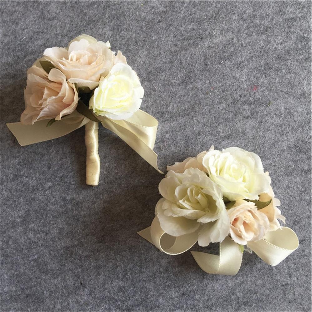 Flores artificiais, corpete de pulso de noiva, flor de mão, homem de casamento, terno de flores, decoração de festa