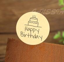 100 pièces/lot Dia 3.8cm joyeux anniversaire rond joint autocollant papier adhésif autocollants pour boulangerie maison et emballage cadeau (ss-1142)
