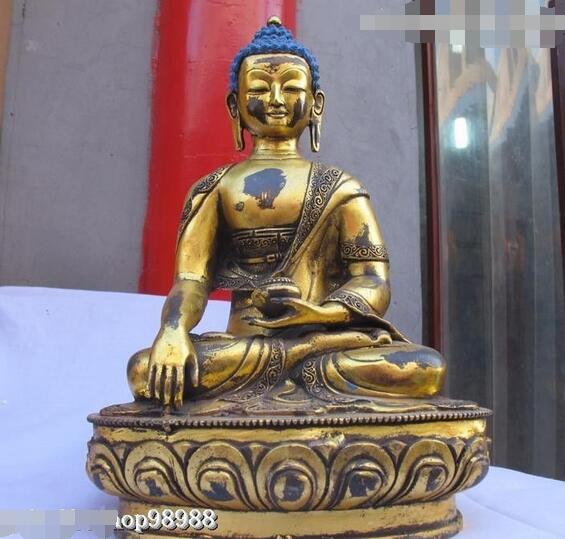 Statue de bouddha en Bronze du Tibet   13 pouces, Statue de bouddha de méditation du Tibet, Sakyamuni Tathagata