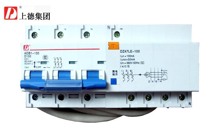 Disyuntor con protección GFCI, Grupo en miniatura, trifásico, cuatro cables, DZ47LE-100 3P + N 100A