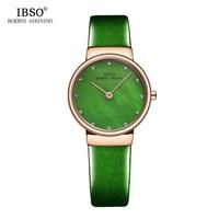 IBSO Women Leather Watches Top Brand Luxury Shell Dial Quartz Watch Women Clock Relogio Feminino 2019 Ladies Watches #2279