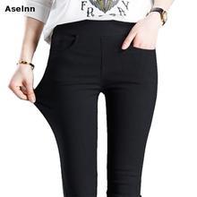Aselnn 2019 printemps nouvelle mode femmes crayon pantalon décontracté taille élastique slim pantalon grande taille noir blanc Stretch pantalon