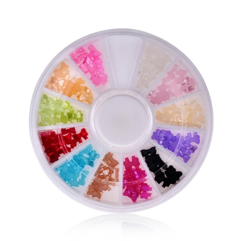 Nuevo DIY 3D mezcla 12 colores UV Gel acrílico pajarita forma acrílico decoración de uñas manicura rueda con funda