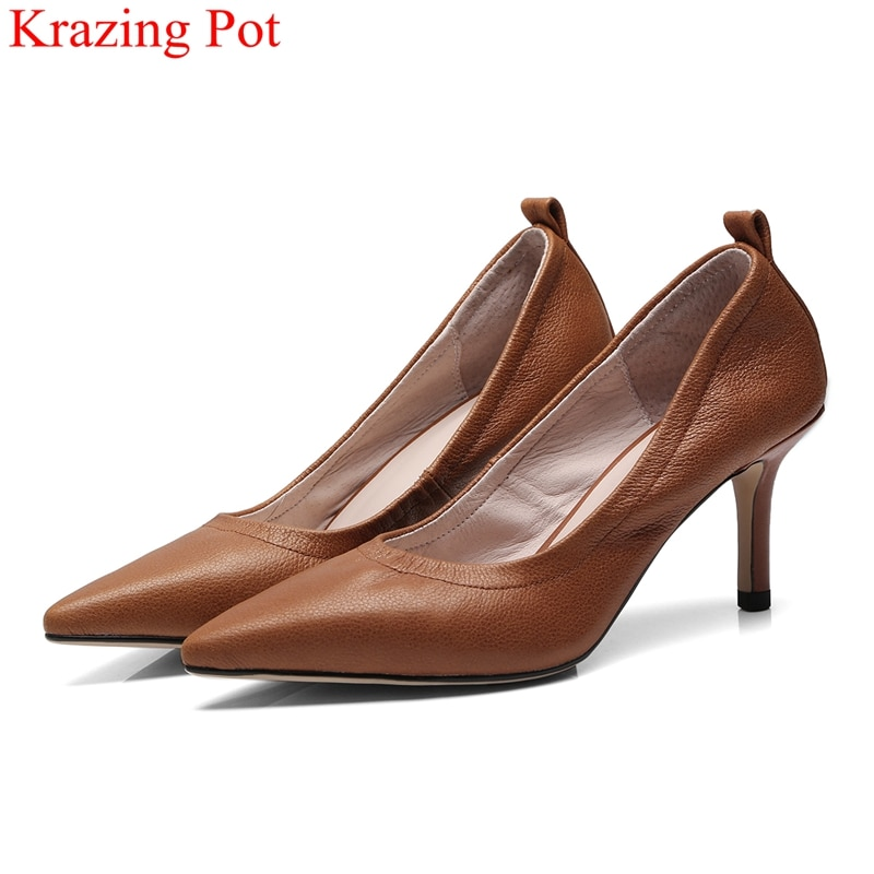 Krazing Pot new cow leather high heels slip on shallow women pumps pointed toe brand office lady party solid wedding shoes L22 sexy v mouth slip on women casual office lady shoes 2020 spring new crystal pumps party shoes woman pointed toe spike high heels