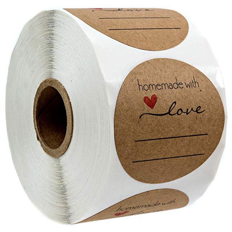 Boda decoración pegatinas/500 regalo casero etiqueta/feliz vacaciones Kraft Natural al horno con pegatinas de Amor etiquetas de enlatados