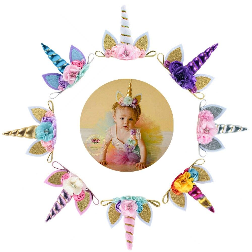 Nuevo unicornio cuerno bebé diadema niños cumpleaños Regalos unicornio diademas para chicas suministros de fiesta accesorios de fotografía recién nacido