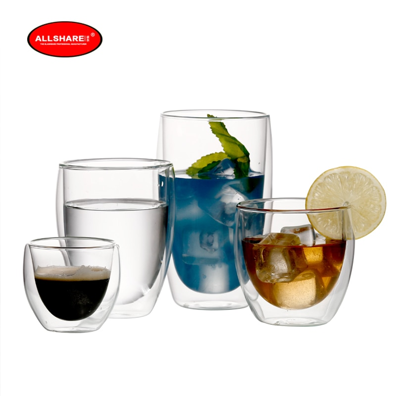 2 uds taza para té y café taza de té de doble pared tazas de café 80-450ml taza de aislamiento transparente taza de cerveza resistente al calor