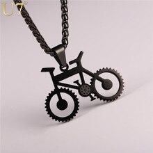 U7 collier de vélo couleur noire en acier inoxydable vélo pendentifs et chaîne pour hommes/femmes 2017 bijoux de mode chaude Hippie Rock P1028