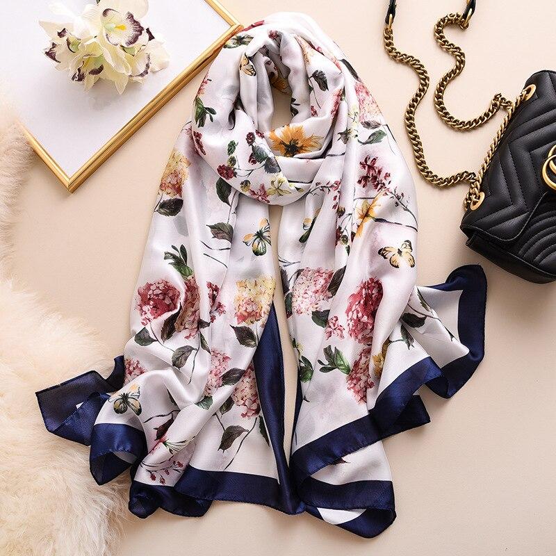 Женский шелковый шарф пасторального стиля, шали и накидки с красивым рисунком бабочки, элегантные шарфы с цветочным принтом из Пашмина, большие шарфы с длинным воротом